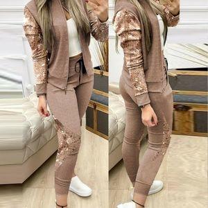 NWOT Sequin jacket and pants set-Tan